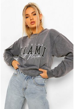 Miami Slogan Oversized Washed Sweatshirt, Charcoal gris