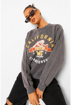 Charcoal California Slogan Oversized Washed Sweatshirt