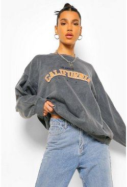 Charcoal grey California Slogan Oversized Washed Sweatshirt