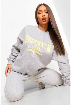 Grey marl grey Brooklyn Slogan Oversized Washed Sweatshirt