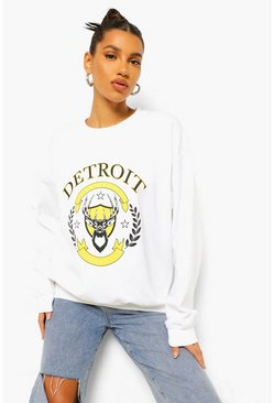 Ecru white Detroit Slogan Oversized Washed Sweatshirt