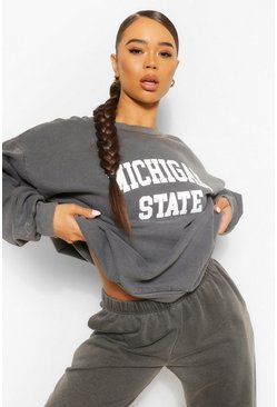 Houtskool grey Oversizede trui met wassing en slogan Michigan