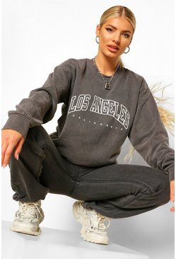 Charcoal grey LA Slogan Extreme Oversized Washed Sweatshirt