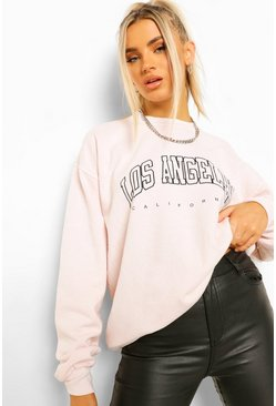 Ecru white LA Slogan Extreme Oversized Washed Sweatshirt