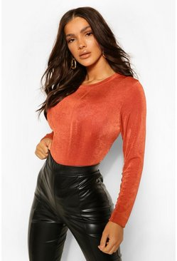 Terracotta Textured Crew Neck Long Sleeve Bodysuit