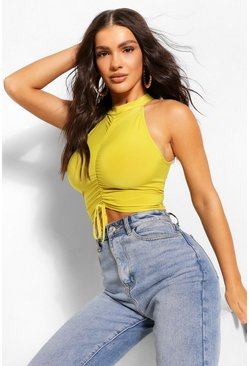 Chartreuse yellow Ruched Detail Crop Top