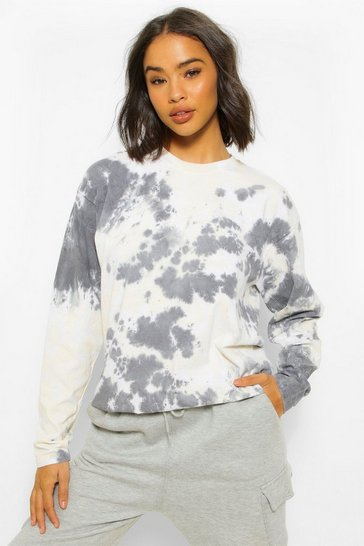 Sand beige Oversized Tie Dye Long Sleeve T-Shirt