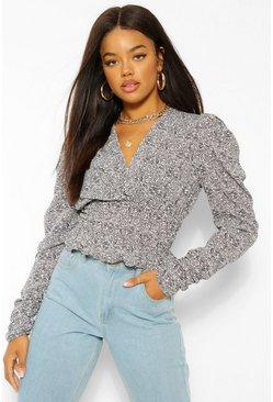 Woven Puff Sleeve Shirred Top , Black noir