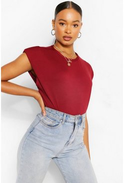 Berry red Shoulder Pad T-Shirt