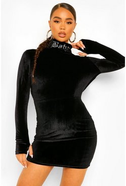 Black Baby Diamante High Neck Velour Mini Dress