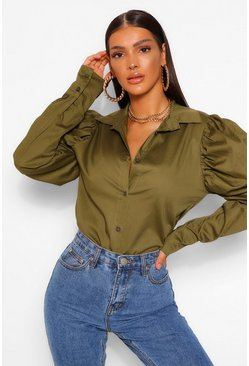 Khaki Statement Shoulder Shirt