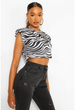 Black Zebra Shoulder Pad Tee