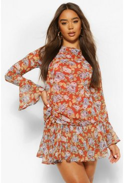 Rust orange Floral Flare Cuff Mini Dress