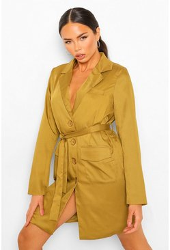 Belted Blazer Dress With Shoulder Pads, Olive vert