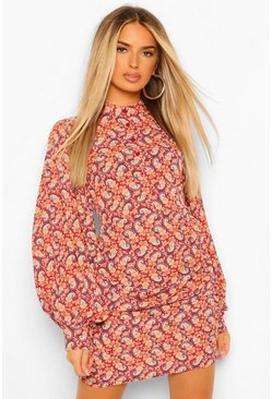 Red Paisley Extreme Balloon Sleeve Bodycon Mini Dress