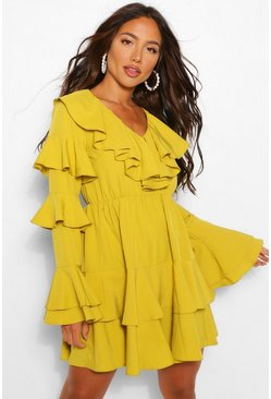 Mustard yellow Extreme Ruffle Tiered Skater Dress