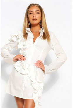 White Extreme Rouched Cotton Cold Shoulder Shirt Dress