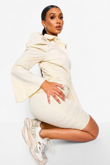 Stone beige Extreme Puff Sleeve Button Down Mini Dress
