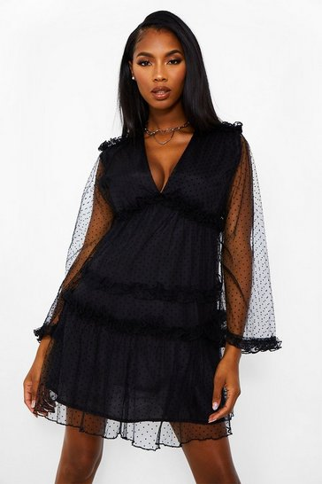 Black Dobby Frill Detail Tiered Swing Dress