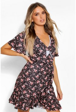 Black Ditsy Floral Wrap Dress