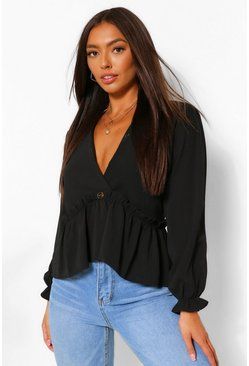 Black Puff Sleeve V Neck Smock Top
