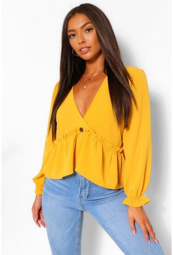Mustard Puff Sleeve V Neck Smock Top