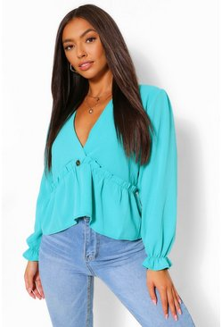 Sage green Puff Sleeve V Neck Smock Top
