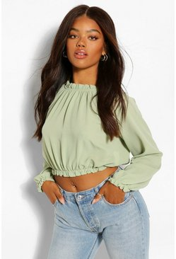 Olive green Woven High Neck Ruffle Crop Blouse