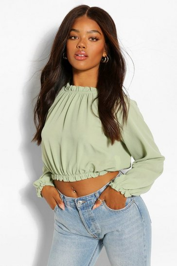 Olive green Green Woven High Neck Ruffle Crop Blouse