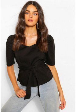 Black Cotton Poplin Square Neck Blouse