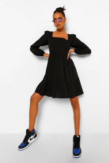 Black Puff Sleeve Woven Square Neck Tiered Smock Dress