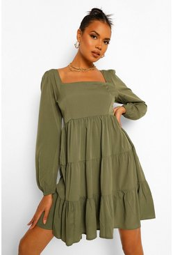Puff Sleeve Woven Square Neck Tiered Smock Dress, Khaki kaki