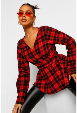 Red Check Blouse Sleeve Wrap Shirt