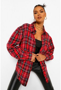 Red Check Blouson Long Sleeve Oversized Shirt