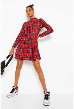 Red Check High Neck Long Sleeve Smock Dress