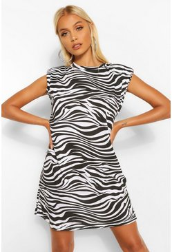 Black Zebra Shoulder Pad T-Shirt Dress
