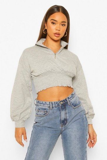 Grey marl grey Shirred Loopback Balloon Sleeve Sweatshirt