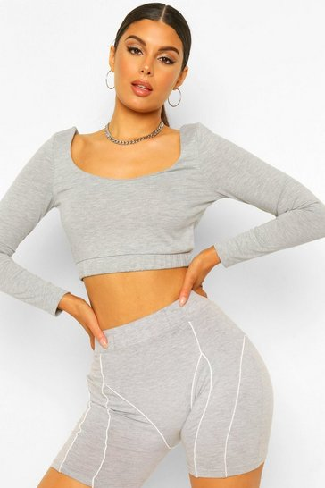 Grey marl grey Grey Woman Scoop Neck Crop Top