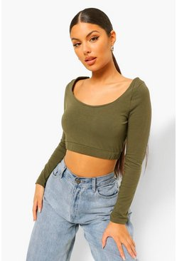 Khaki Woman Scoop Neck Crop Top