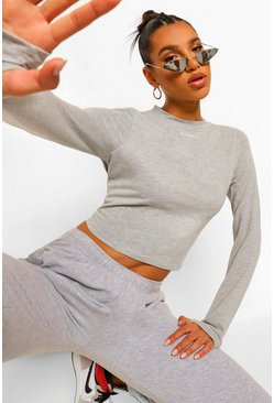 Grey marl grå Woman Crop top med tumhål