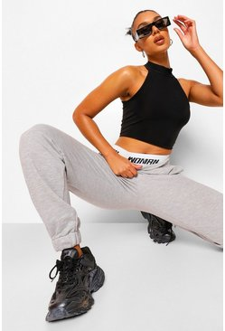 Grey marl grey Woman Double Waistband Joggers