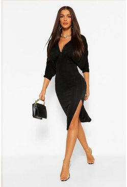 Black Batwing Ruched Detial Midi Dress