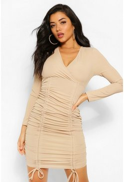 Stone beige Rib Wrap Over Ruched Mini Dress