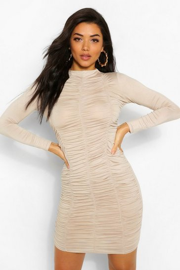 Stone beige Funnel Neck Ruched Mini Dress
