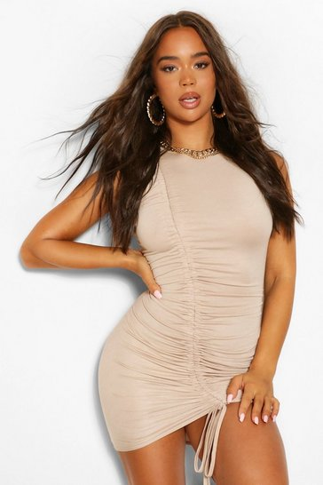 Stone beige Racer Neck Ruched Mini Dress