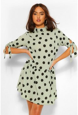 Sage green Tie Sleeve High Neck Shift Dress