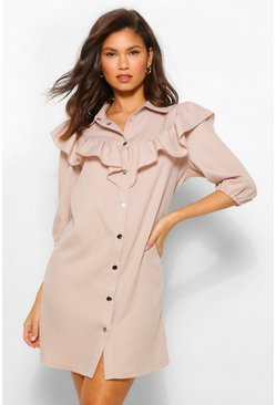 Stone beige Ruffle Sleeve Collared Shift Dress