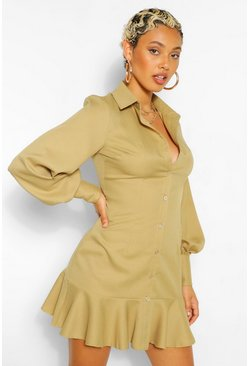 Olive green Woven Drop Hem Shirt Dress