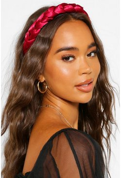 Red Satin Plait Headband