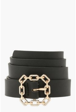 Black Diamante Chain Link Buckle Belt